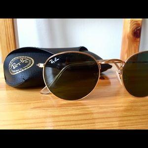 Ray-Ban round gold metal sunglasses